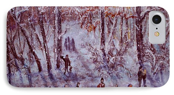Ice Skating On Hardy Pond IPhone Case by Rita Brown