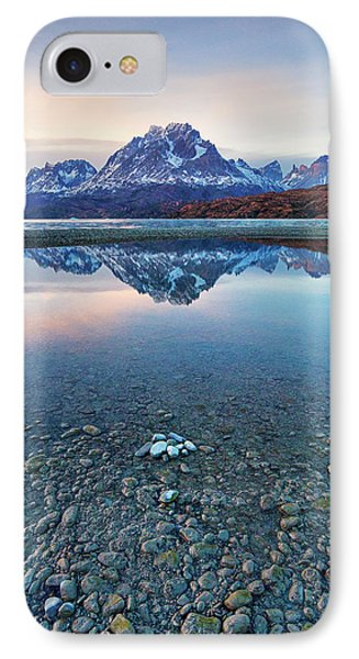 Icebergs And Mountains Of Torres Del Paine National Park IPhone Case by Phyllis Peterson