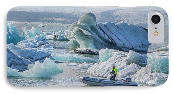 Icebergs On Jokulsarlon Lagoon In Iceland IPhone Case by Venetia Featherstone-Witty
