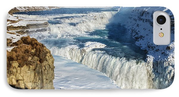 IPhone Case featuring the photograph Iceland Gullfoss Waterfall In Winter With Snow by Matthias Hauser