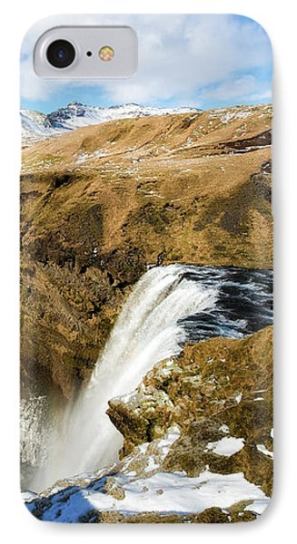 IPhone Case featuring the photograph Iceland Landscape With Skogafoss Waterfall by Matthias Hauser
