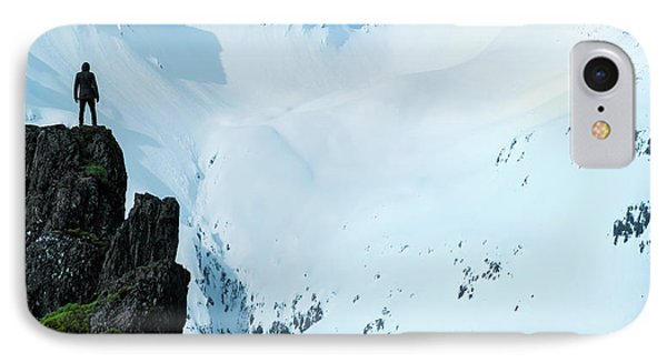 Iceland Snow Covered Mountains IPhone Case by Larry Marshall