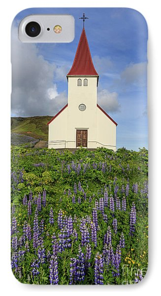 IPhone Case featuring the photograph Icelandic Church Among The Fields Of Lupine by Edward Fielding