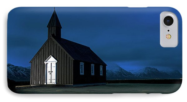 IPhone Case featuring the photograph Icelandic Church At Night by Dubi Roman