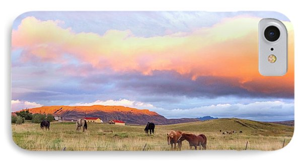 IPhone Case featuring the photograph Icelandic Horses Under The Sunset by Brad Scott