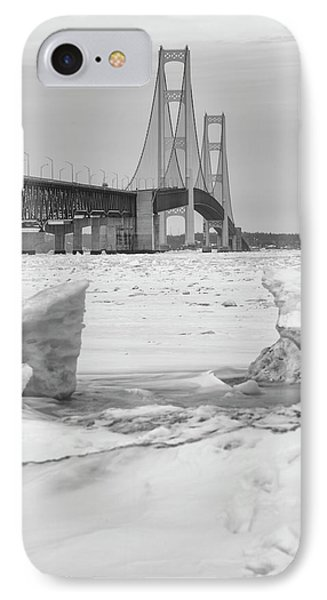 IPhone Case featuring the photograph Icy Black And White Mackinac Bridge  by John McGraw