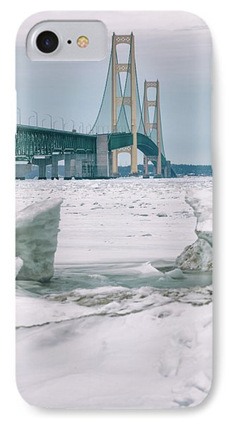 IPhone Case featuring the photograph Icy Day Mackinac Bridge  by John McGraw