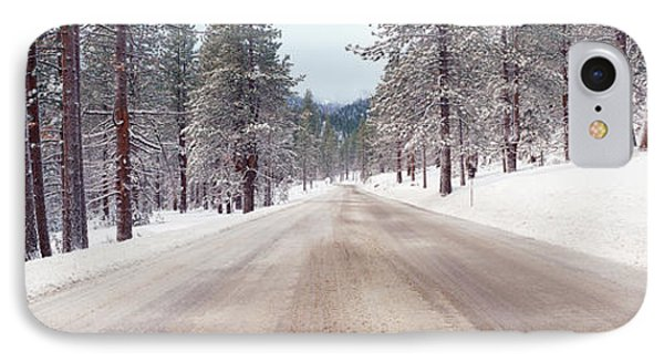 Icy Road And Snowy Forest, California IPhone Case