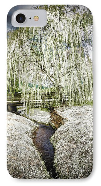 Icy Tree In The Meadow IPhone Case by Debra and Dave Vanderlaan
