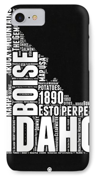 Idaho Black And White Map IPhone Case