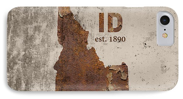 Idaho State Map Industrial Rusted Metal On Cement Wall With Founding Date Series 045 IPhone Case