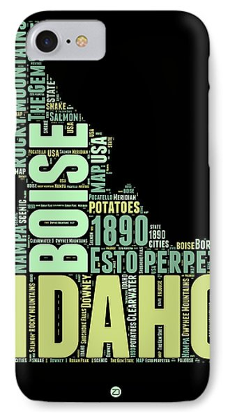 Idaho Word Cloud 1 IPhone Case by Naxart Studio