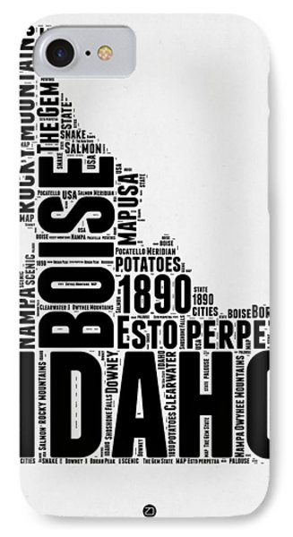Idaho Word Cloud 2 IPhone Case by Naxart Studio