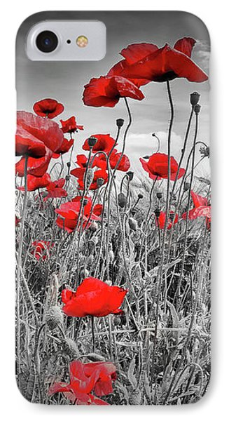 Idyllic Field Of Poppies Colorkey IPhone Case by Melanie Viola