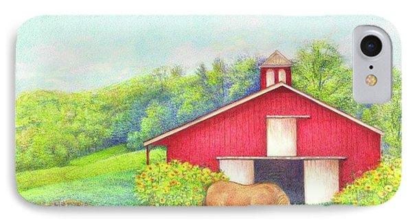 IPhone Case featuring the painting Idyllic Summer Landscape Barn With Horse by Judith Cheng