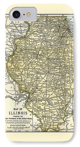 Illinois Antique Map 1891 IPhone Case
