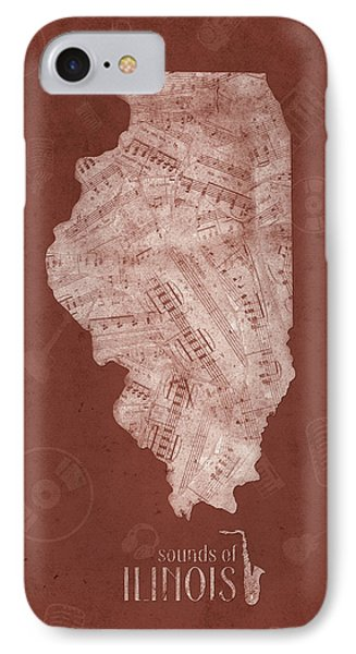 Illinois Map Music Notes 5 IPhone 7 Case