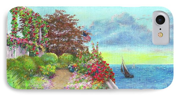 IPhone Case featuring the painting Illustrated Beach Cottage Water's Edge by Judith Cheng