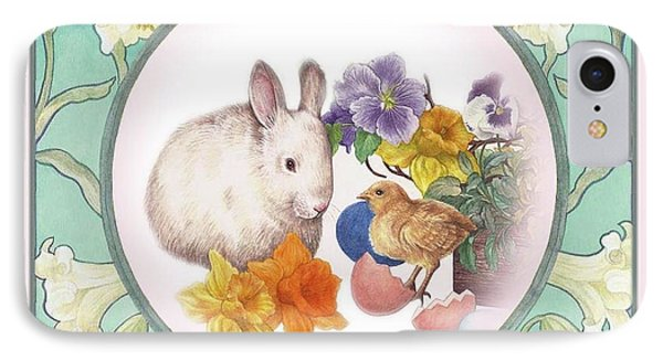 IPhone Case featuring the painting Illustrated Bunny With Easter Floral by Judith Cheng