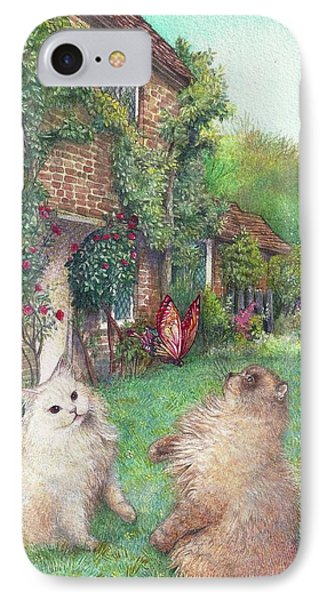 IPhone Case featuring the painting Illustrated Cats In English Cottage Garden by Judith Cheng