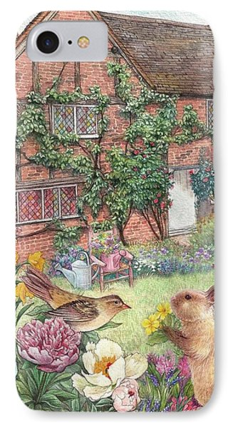 IPhone Case featuring the painting Illustrated English Cottage With Bunny And Bird by Judith Cheng