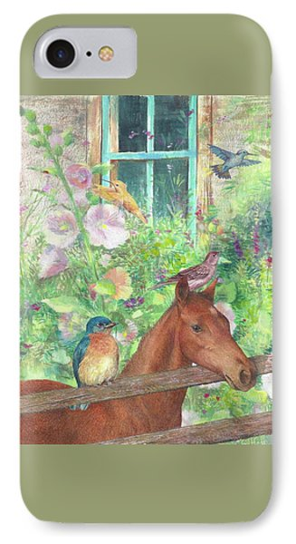 IPhone Case featuring the painting Illustrated Horse And Birds In Garden by Judith Cheng