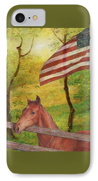 IPhone Case featuring the painting Illustrated Horse In Golden Meadow by Judith Cheng