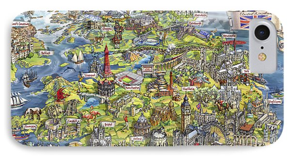 Illustrated Map Of The United Kingdom IPhone Case