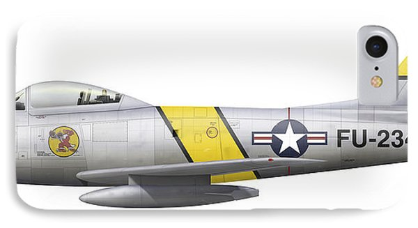 Illustration Of A North American F-86f Phone Case by Chris Sandham-Bailey