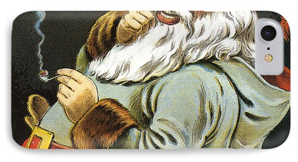 Illustration Of Santa Claus Smoking A Pipe IPhone Case