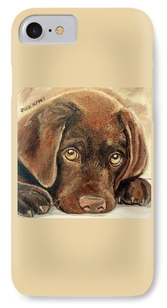 I'm Sorry - Chocolate Lab Puppy IPhone Case by Julie Brugh Riffey