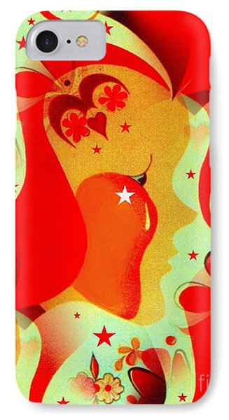 Profile In Red IPhone Case by Jean Clarke