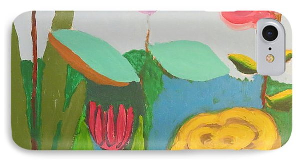 IPhone Case featuring the painting Imagined Flowers One by Rod Ismay