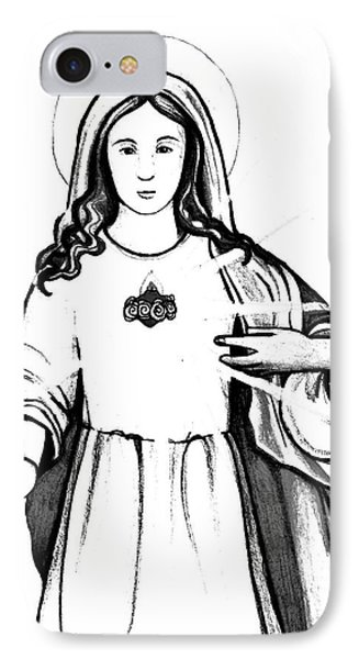 IPhone Case featuring the drawing Immaculate Heart Of Mary by Mary Ellen Frazee