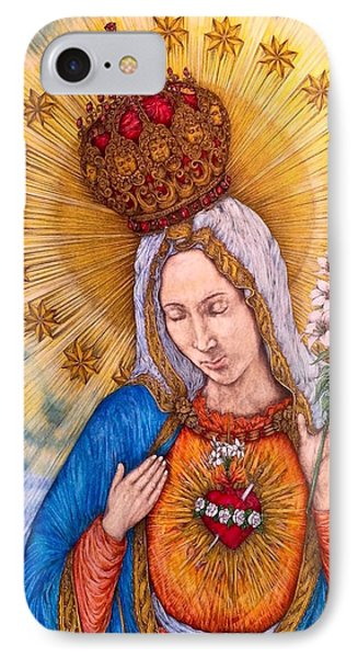 Immaculate Heart Of Virgin Mary IPhone Case by Kent Chua