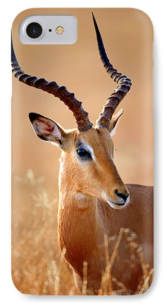 Impala Male Portrait IPhone Case by Johan Swanepoel