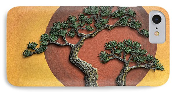 Impasto - Bonsai With Sun - One IPhone Case by Lori Grimmett