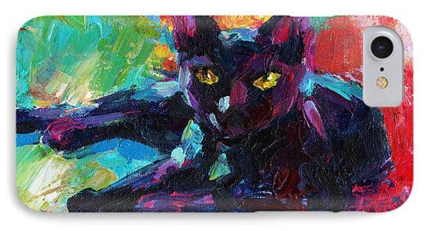 Impressionistic Black Cat Painting 2 IPhone Case by Svetlana Novikova