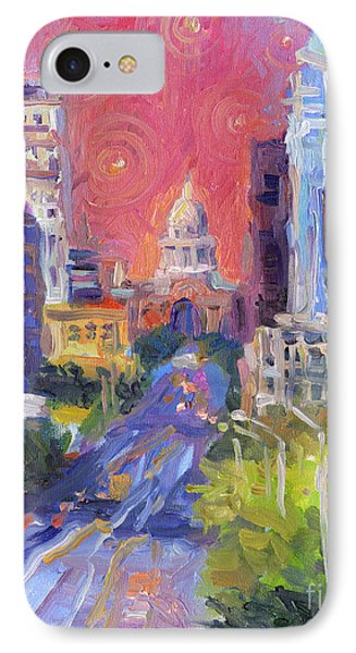 Impressionistic Downtown Austin City Painting IPhone Case by Svetlana Novikova