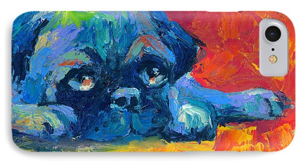 impressionistic Pug painting IPhone Case