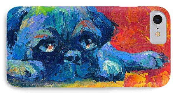 impressionistic Pug painting IPhone Case by Svetlana Novikova