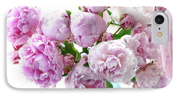 Impressionistic Romantic Pink Peonies Watercolor Romantic Floral Decor - Pink Peony Decor IPhone Case by Kathy Fornal
