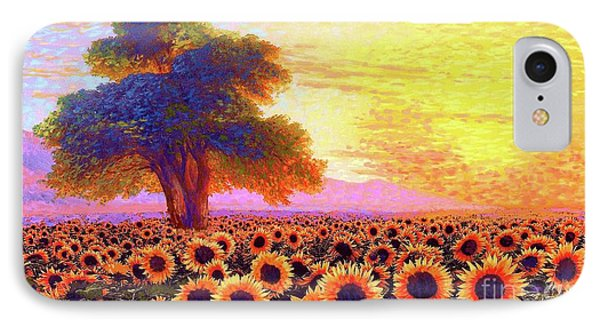 Sunflower iPhone 7 Case - In Awe Of Sunflowers, Sunset Fields by Jane Small