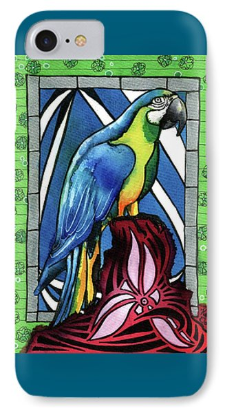 IPhone Case featuring the painting In Love With A Macaw by Dora Hathazi Mendes