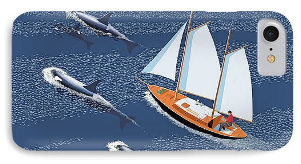 IPhone Case featuring the digital art In The Company Of Whales by Gary Giacomelli