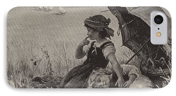 In The Harvest Field, Guardians Of The Luncheon Basket IPhone Case by Frederick Morgan