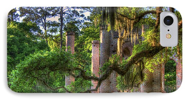 In The Light Spanish Moss Old Sheldon Church Ruins IPhone Case by Reid Callaway
