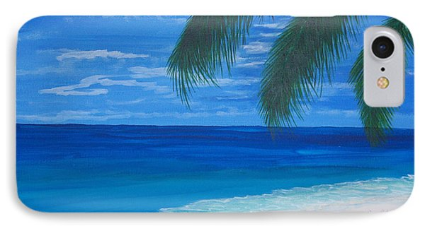 In The Shade Of A Palm Phone Case by Nancy Nuce