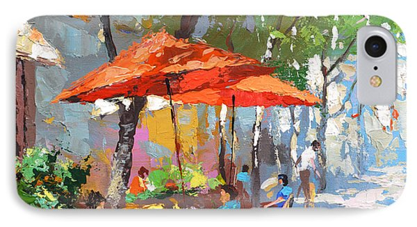 IPhone Case featuring the painting In The Shadow Of Cafe by Dmitry Spiros
