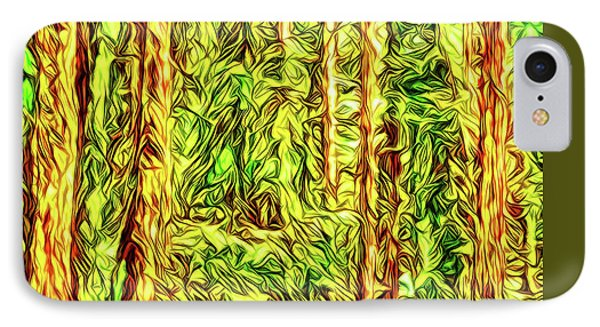 IPhone Case featuring the digital art In The Woods - Forest Trees Vashon Island Washington by Joel Bruce Wallach